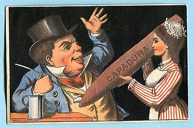 Antique CAPADURA CIGAR Advertising Trade Card MAN IN TOP HAT + MAID * R C Brown