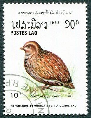 LAOS 1988 10k SG1094 used NG Birds Japanese quail Coturnix japonica #W31