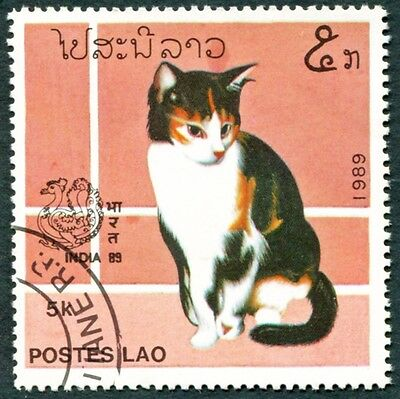LAOS 1989 5k SG1110 used NG India 89 Stamp Exhibition New Delhi Cats #W31