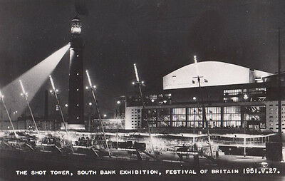 Festival Of Britain The Tower Beacon Shining At Night Exhibition London Postcard