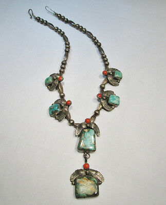 Native American Sterling Silver Navajo Boulder Turquoise Choker Necklace C452