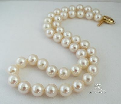 "HS 10mm Japanese Akoya Cultured Pearl Necklace 18 1/4"" 18K w/Diamonds Top Grade"