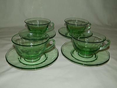 4 Fostoria Fairfax Green Cup & Saucer Depression Glass Sets 8 pieces Free Ship