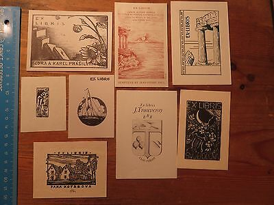 Vintage Ex Libris Job Lot ,8 pieces