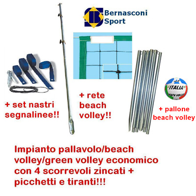 IMPIANTO volley/BEACH VOLLEY/GREEN V.+4 SCORREVOLI ZINCATI+RETE+SET NASTRI+PALL