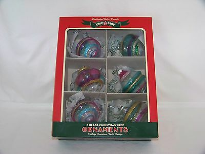 "6 - Shiny Brite Christmas Holiday 3"" Tall Glass Ornaments - New In Box"