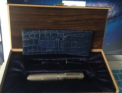 HUGE HEAVY WEIGHT STUBBY 925 STERLING SILVER FOUNTAIN PEN EDISON B Nib Ink Pouch