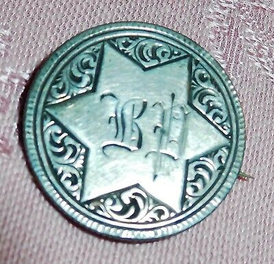 Vtg 1861 Jewish Star of David BD Liberty Seated Quarter 25 Love Token Coin Pin