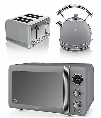 NEW Swan Kitchen Retro Set -GREY Microwave,1.7L Dome Kettle & 4 slice Toaster