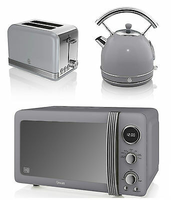 NEW Swan Kitchen Retro Set -GREY Microwave,1.7L Dome Kettle & 2 slice Toaster