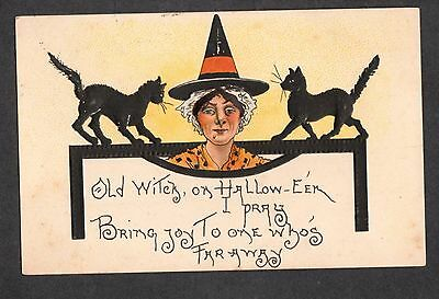 B184  postcard Halloween by H B Griggs witch two black cats