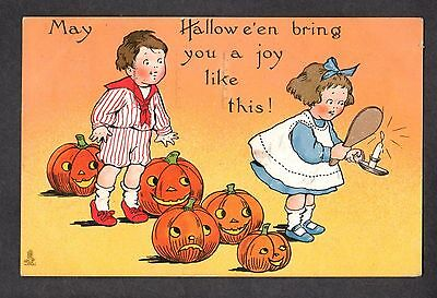 B172 postcard Halloween TUCK 188 girl looks in mirror and sees boy JOL smile
