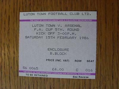 15/02/1986 Ticket: Luton Town v Arsenal [FA Cup]
