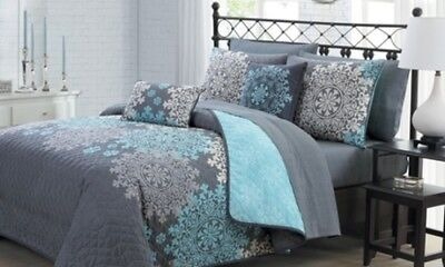 NEW 9-pc. Amber Collection Reversible Quilt Set with Sheets - Aqua - King Size