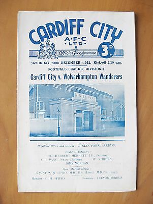 CARDIFF CITY v WOLVES 1952/1953 *VG Condition Football Programme*
