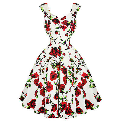 Hearts & Roses London White and Red Floral Vintage Retro 1950s Flared Tea Dress