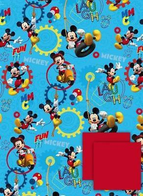 MICKEY MOUSE Clubhouse - 2 Sheets of Gift Wrapping Paper and 2 Gift Tags