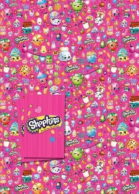 SHOPKINS - 2 Sheets of Gift Wrapping Paper and 2 Gift Tags
