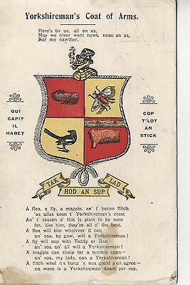 Postcard Novelty. Yorkshireman's Coat of Arms with verse.