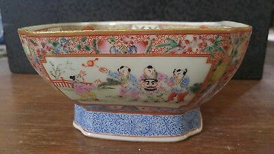 Old Antique Chinese Square Footed Hand Painted Porcelain Bowl W/Playing Children