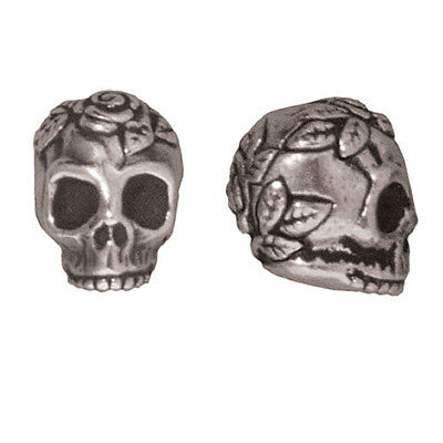 Fine Silver Plated Pewter Skull With Roses Beads 10mm (2)