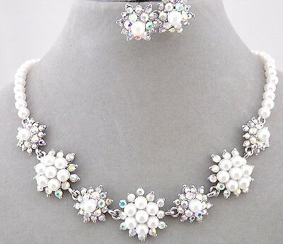 White Pearl Flower AB Crystal Rhinestone Necklace Set Silver Fashion Jewelry NEW