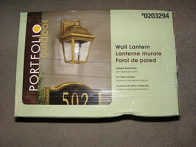 Portfolio 1-Light Outdoor Wall Lantern-New-#gel1691A-Antique Brass