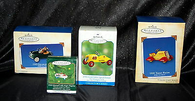 HALLMARK MINIATURE KEEPSAKE ORNAMENT LOT -  1935/1941 &'49 and Jolly Roger LOOK