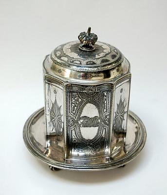 Antique 8-sided Silver-plated Biscuit Box Jar with Claw feet