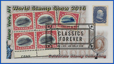 5079 World Stamp Show US Classics First Day Cover 2016 #204 Inverted Jenny Block