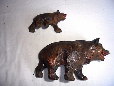 Rare Vintage Or Antique Carved Black Forest Bear And Cub