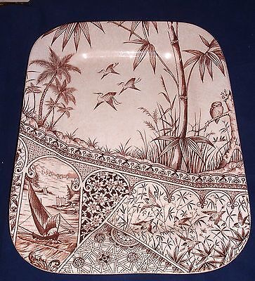 AESTHETIC BROWN TRANSFERWARE PLATTER  AMERICAN TROPICS PATTERN  Willets NJ
