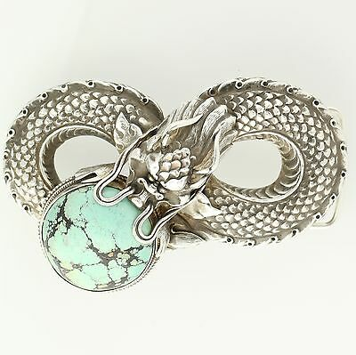 Turquoise Chinese Dragon Belt Buckle - Sterling Silver Southwestern-Style
