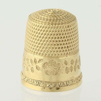 Simons Brothers Thimble - 14k Yellow Gold Etched Flowers Size 9