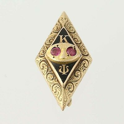 Kappa Psi Badge - Pharmaceutical Fraternity Pin 10k Gold Rubies Chased