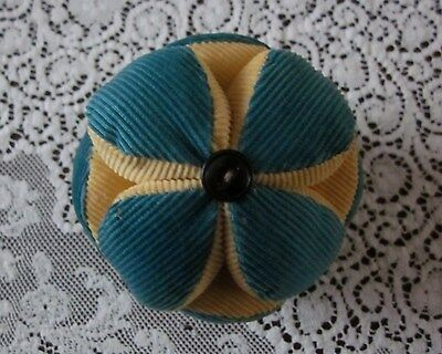 Vintage Antique Puzzle Ball Pin Cushion Amish Handmade Corduroy Sewing