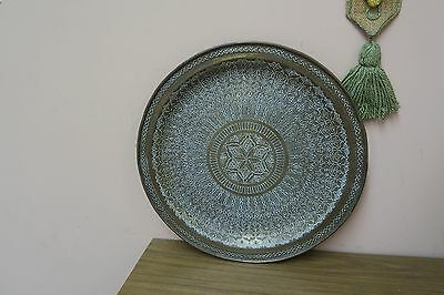 "Vintage Hammered Islamic Arabic Moroccan Brass Copper Overlay 19"" Tray Morocco"