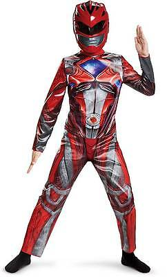 Licensed Red Power Ranger Movie Classic Jumpsuit Character Costume Child Boys