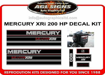1995 MERCURY XRi 200 HP  2.5 litre Decal Kit  reproductions outboard