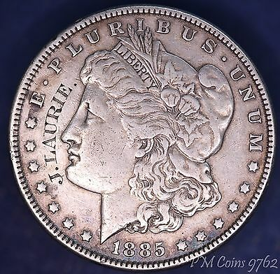 """1885 USA US Morgan Dollar 90% silver nice coin- stamped """"J. Laurie"""" *[9762]"""