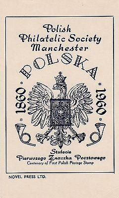 1960 Postcard Centenary Of First Polish Stamp Manchester Polish Gb 4