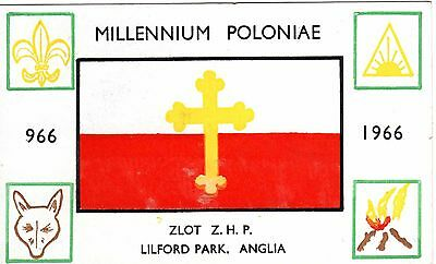 1966 Postcard Poland's Millennium Of Christianity Zamboree Scouting Polish Gb 40
