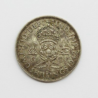 1942 George VI Silver One Florin / Two Shillings Coin #17