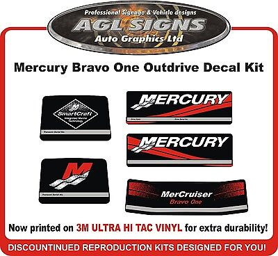 Mercury Bravo One Outdrive 5 piece Decal Kit   Mercruiser  reproductions