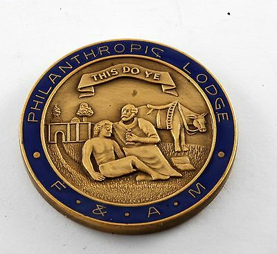 """Philanthropic Lodge F & Am """"this Do Ye"""" Mason Coin Token New Old Stock"""