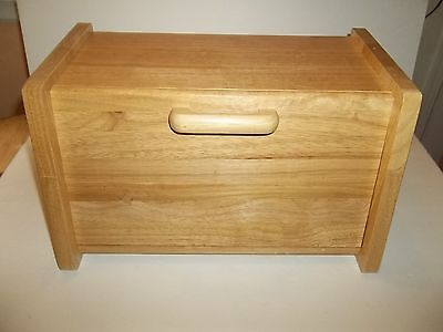 Awesome Wooden Bread Box Front Drop-Down Door Wood Handle Good Condition