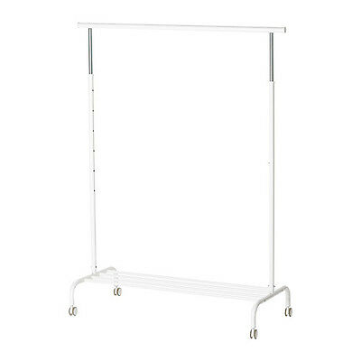 Ikea White Rigga Clothes / Garment Display Rack / Organizer Indoor/ Outdoor New