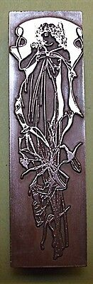 "Beautiful ""art Nouveau Lady"" Printing Block."
