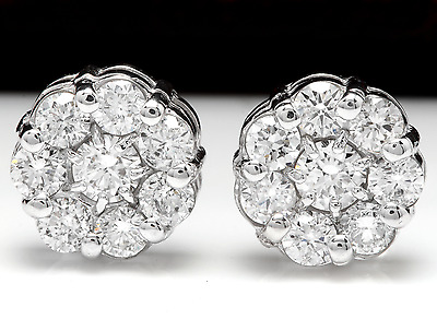 1.50Ct Natural Diamond 14k Solid White Gold  Earrings