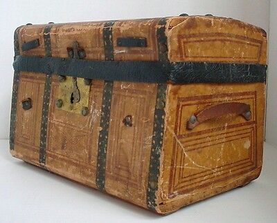 Small Antique Doll Trunk for All Bisque or French Mignonette Doll 1870's